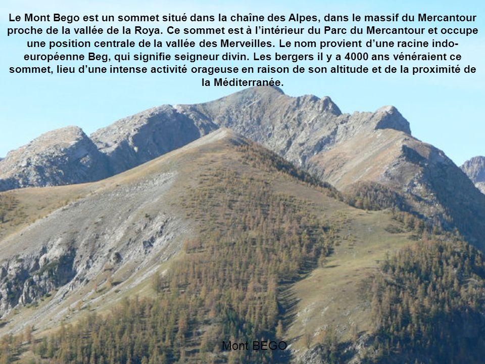 Le Mont Bego est un sommet situé dans la chaîne des Alpes, dans le massif du Mercantour proche de la vallée de la Roya. Ce sommet est à l'intérieur du Parc du Mercantour et occupe une position centrale de la vallée des Merveilles. Le nom provient d'une racine indo-européenne Beg, qui signifie seigneur divin. Les bergers il y a 4000 ans vénéraient ce sommet, lieu d'une intense activité orageuse en raison de son altitude et de la proximité de la Méditerranée.