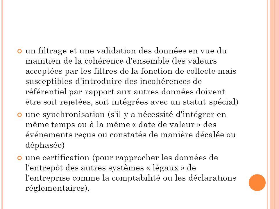 un filtrage et une validation des données en vue du maintien de la cohérence d ensemble (les valeurs acceptées par les filtres de la fonction de collecte mais susceptibles d introduire des incohérences de référentiel par rapport aux autres données doivent être soit rejetées, soit intégrées avec un statut spécial)