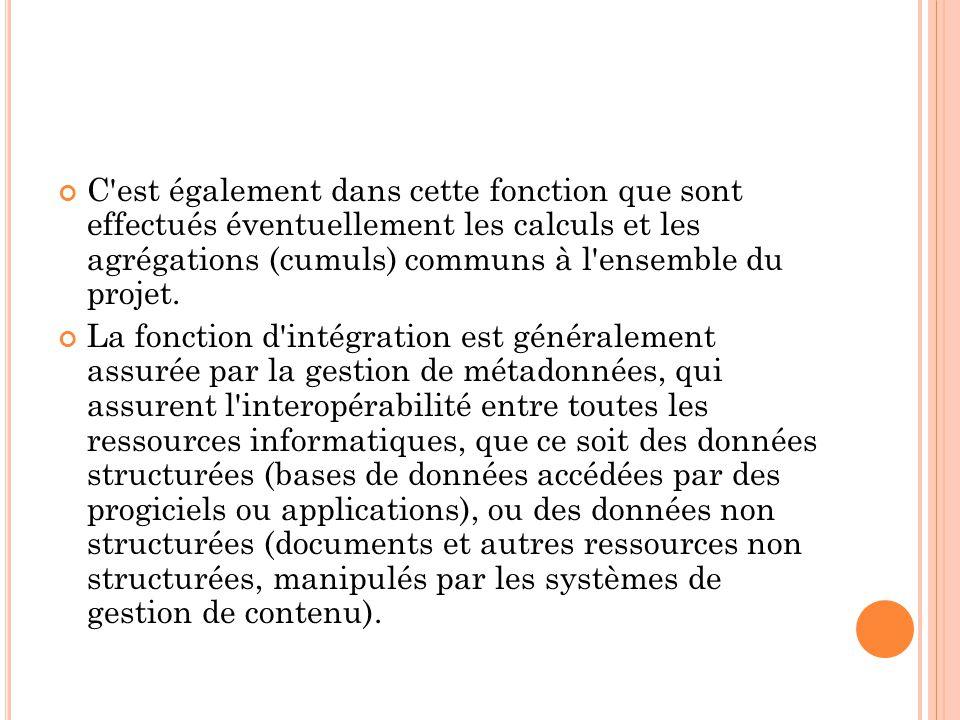 C est également dans cette fonction que sont effectués éventuellement les calculs et les agrégations (cumuls) communs à l ensemble du projet.