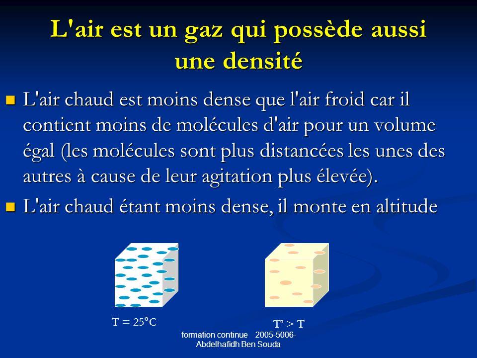L air est un gaz qui possède aussi une densité