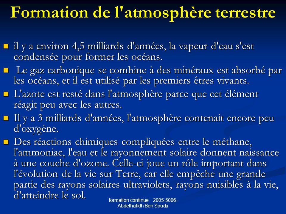 Formation de l atmosphère terrestre
