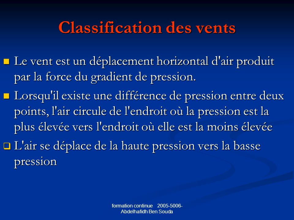 Classification des vents