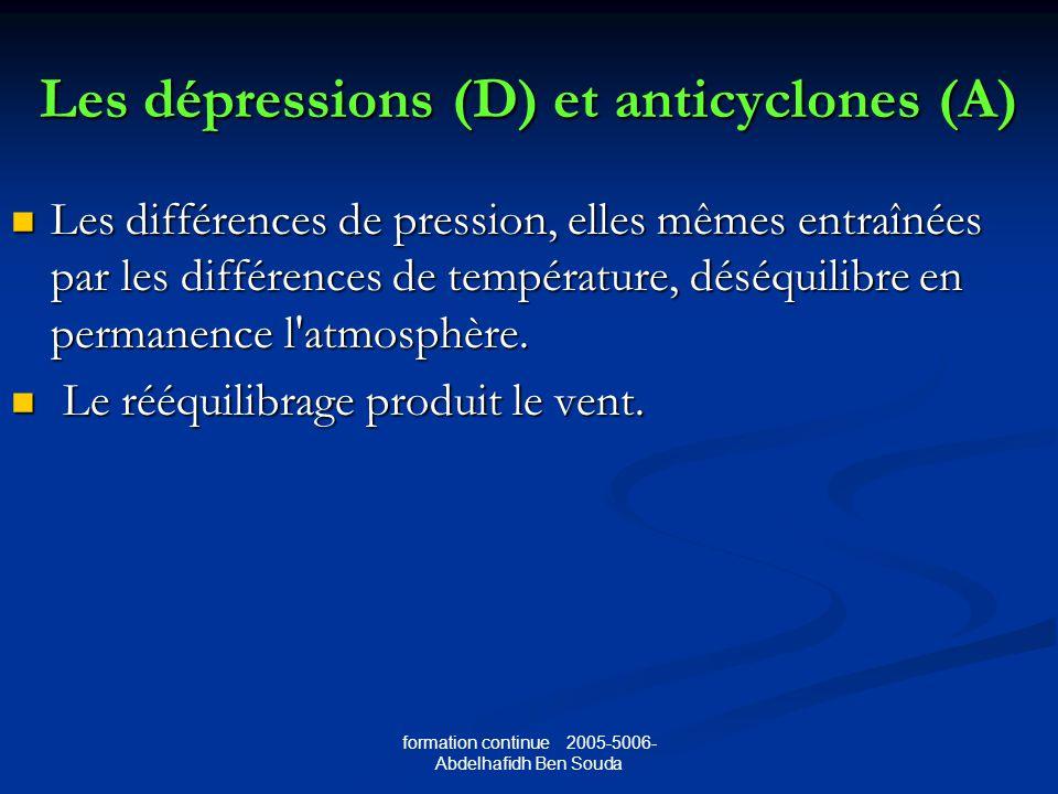 Les dépressions (D) et anticyclones (A)