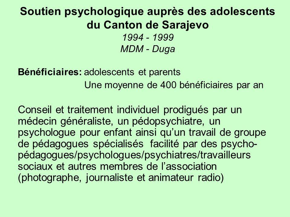 Soutien psychologique auprès des adolescents du Canton de Sarajevo 1994 - 1999 MDM - Duga