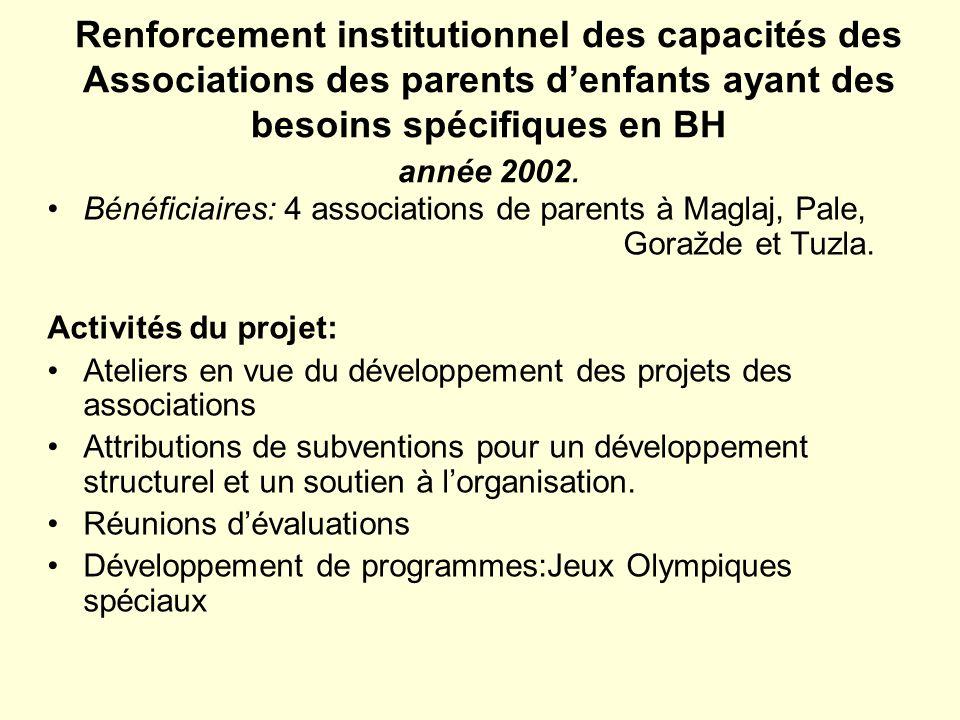 Renforcement institutionnel des capacités des Associations des parents d'enfants ayant des besoins spécifiques en BH année 2002.