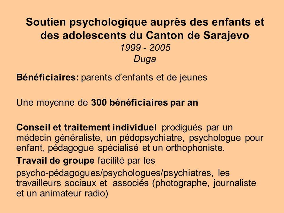 Soutien psychologique auprès des enfants et des adolescents du Canton de Sarajevo 1999 - 2005 Duga