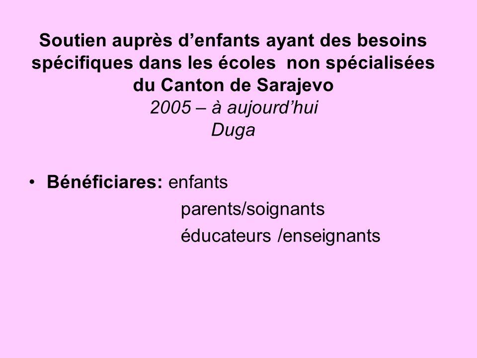 Soutien auprès d'enfants ayant des besoins spécifiques dans les écoles non spécialisées du Canton de Sarajevo 2005 – à aujourd'hui Duga