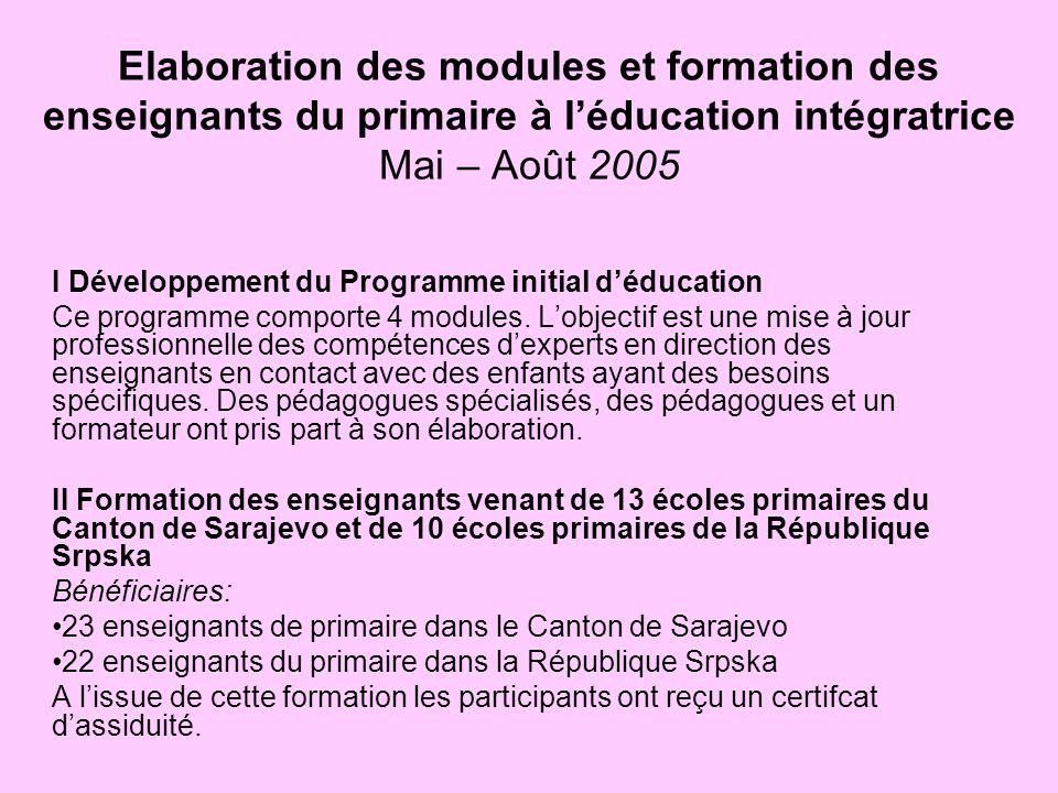 Elaboration des modules et formation des enseignants du primaire à l'éducation intégratrice Mai – Août 2005
