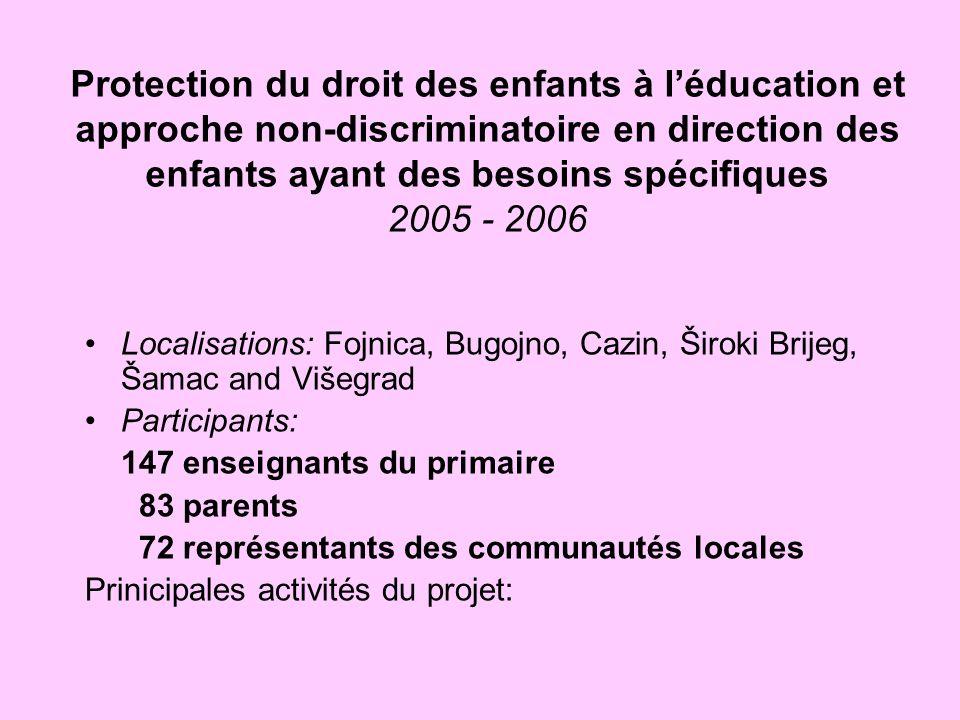 Protection du droit des enfants à l'éducation et approche non-discriminatoire en direction des enfants ayant des besoins spécifiques 2005 - 2006