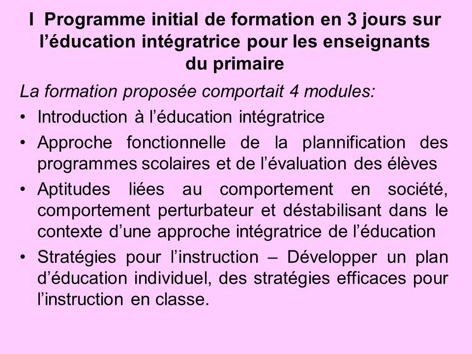 I Programme initial de formation en 3 jours sur l'éducation intégratrice pour les enseignants du primaire