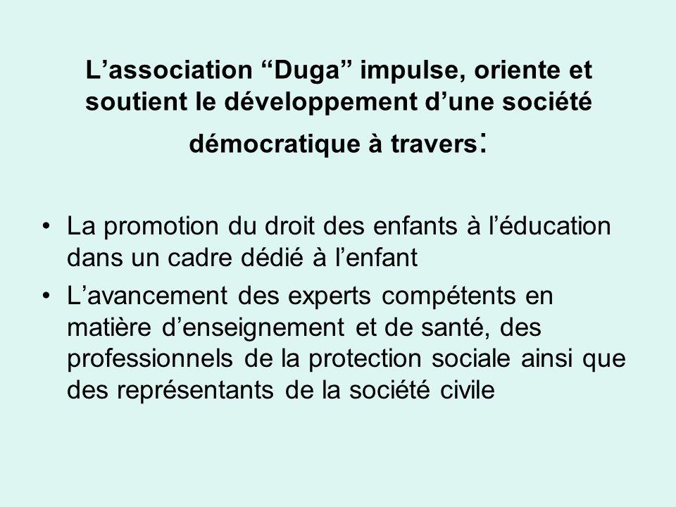 L'association Duga impulse, oriente et soutient le développement d'une société démocratique à travers: