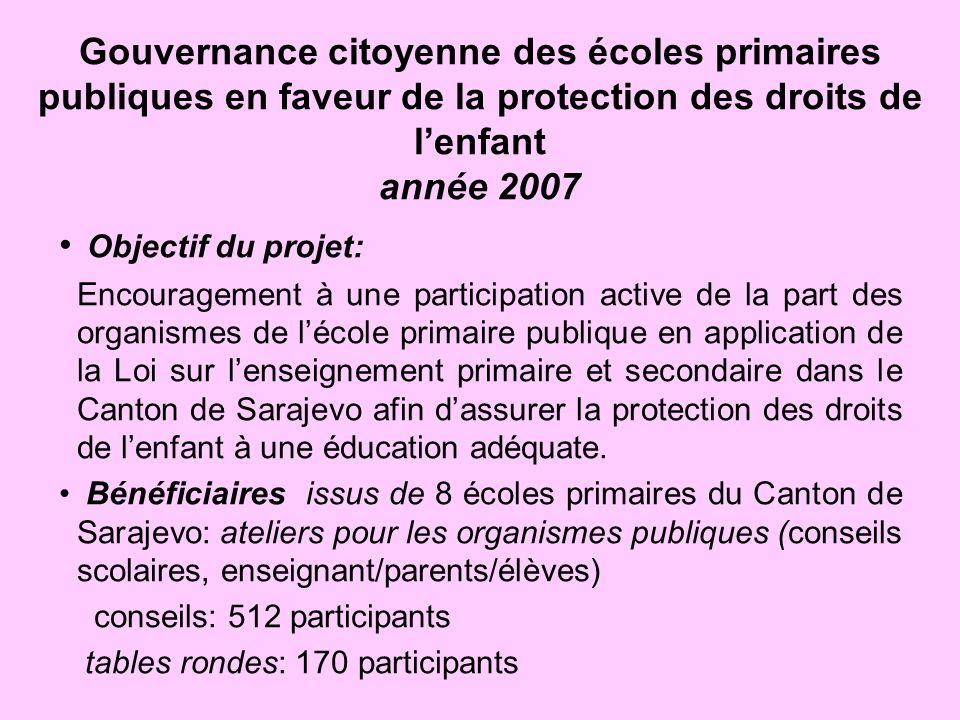 Gouvernance citoyenne des écoles primaires publiques en faveur de la protection des droits de l'enfant année 2007