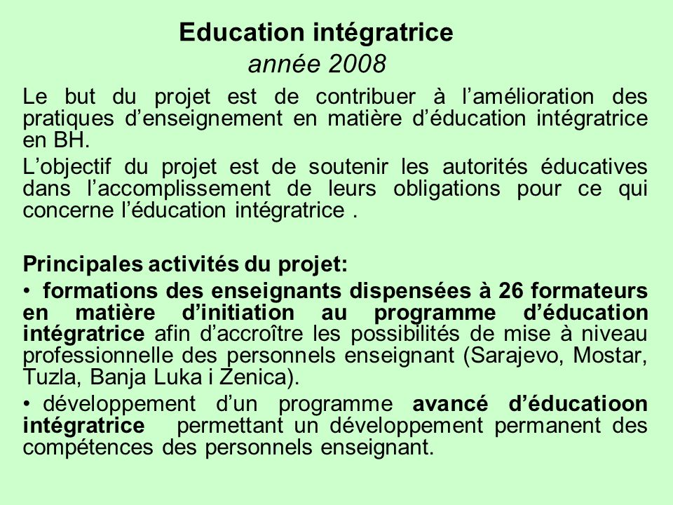 Education intégratrice année 2008