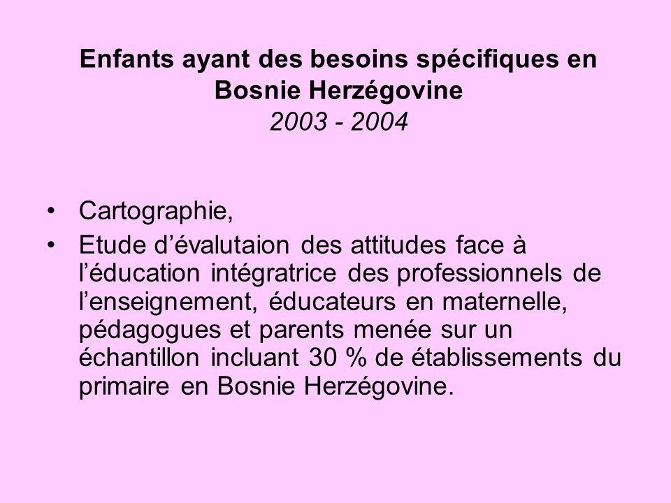 Enfants ayant des besoins spécifiques en Bosnie Herzégovine 2003 - 2004