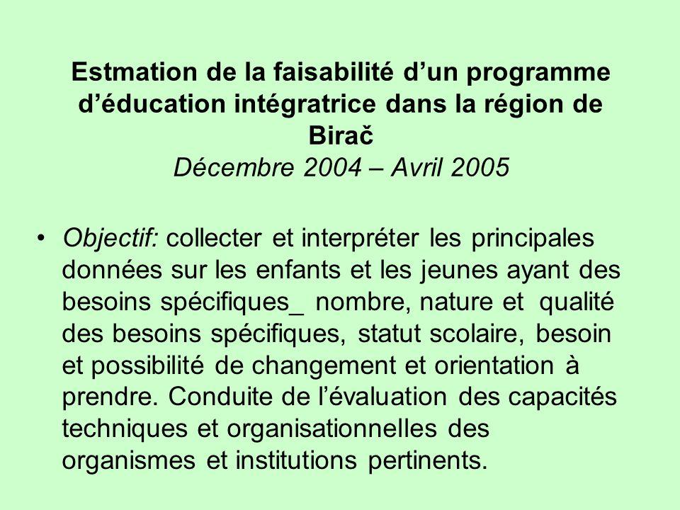Estmation de la faisabilité d'un programme d'éducation intégratrice dans la région de Birač Décembre 2004 – Avril 2005