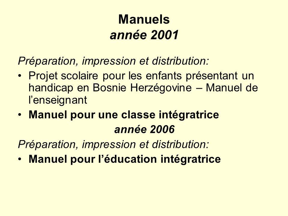 Manuels année 2001 Préparation, impression et distribution: