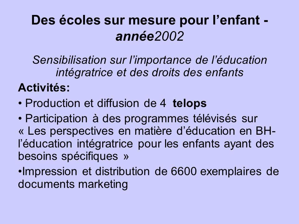 Des écoles sur mesure pour l'enfant - année2002
