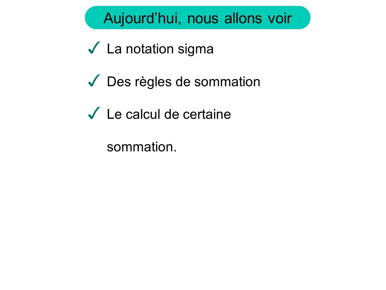 La notation sigma Des règles de sommation Le calcul de certaine sommation.