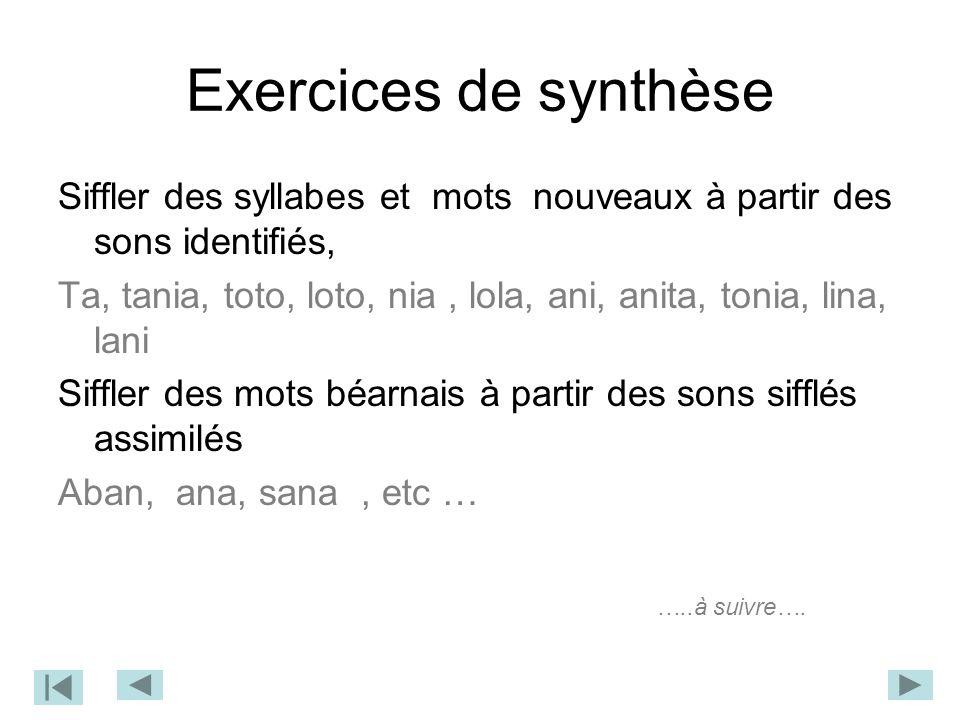 Exercices de synthèse Siffler des syllabes et mots nouveaux à partir des sons identifiés,