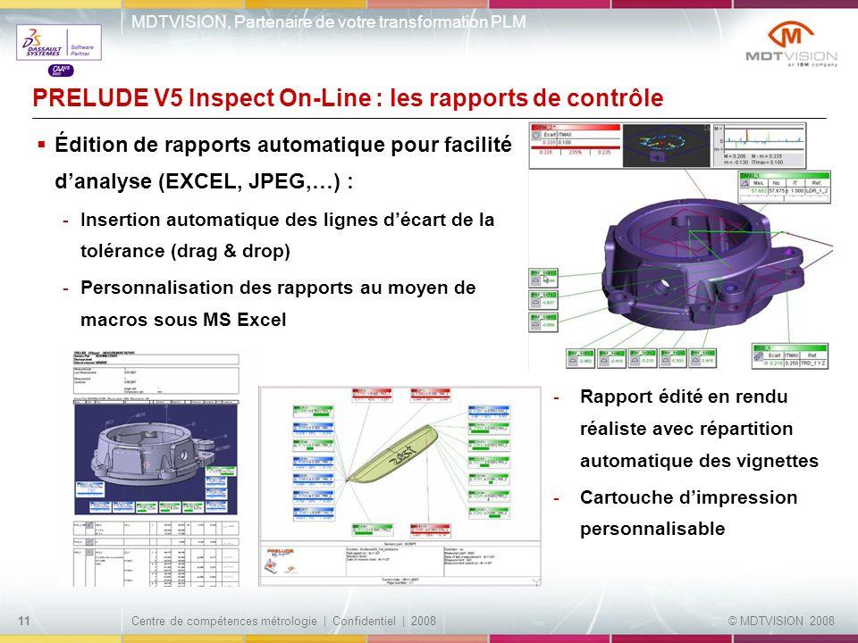 PRELUDE V5 Inspect On-Line : les rapports de contrôle