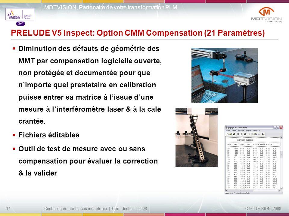 PRELUDE V5 Inspect: Option CMM Compensation (21 Paramètres)