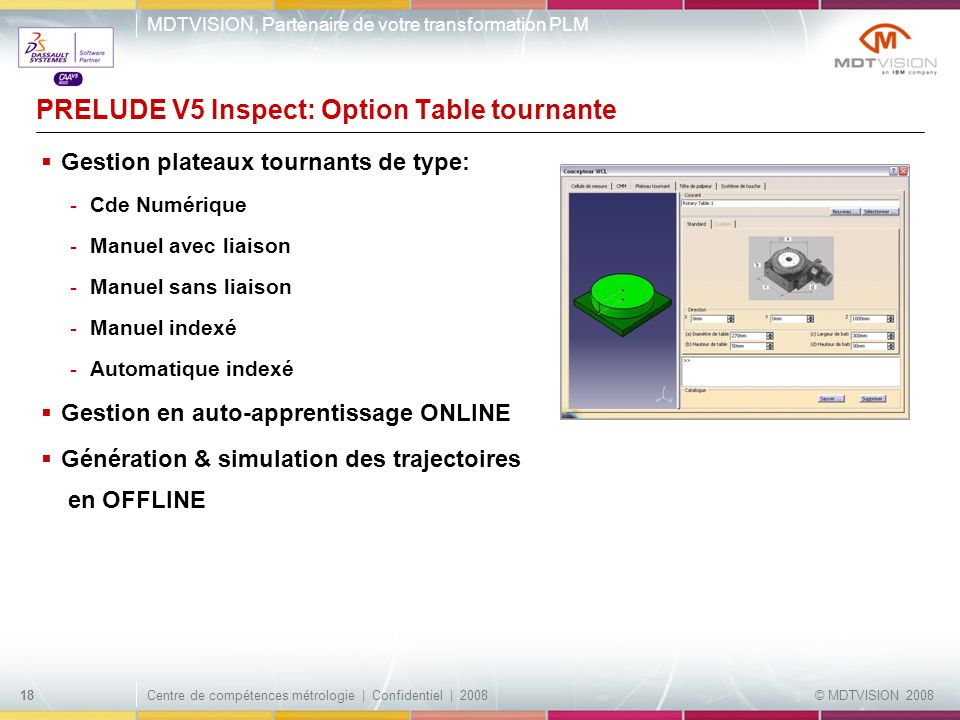 PRELUDE V5 Inspect: Option Table tournante
