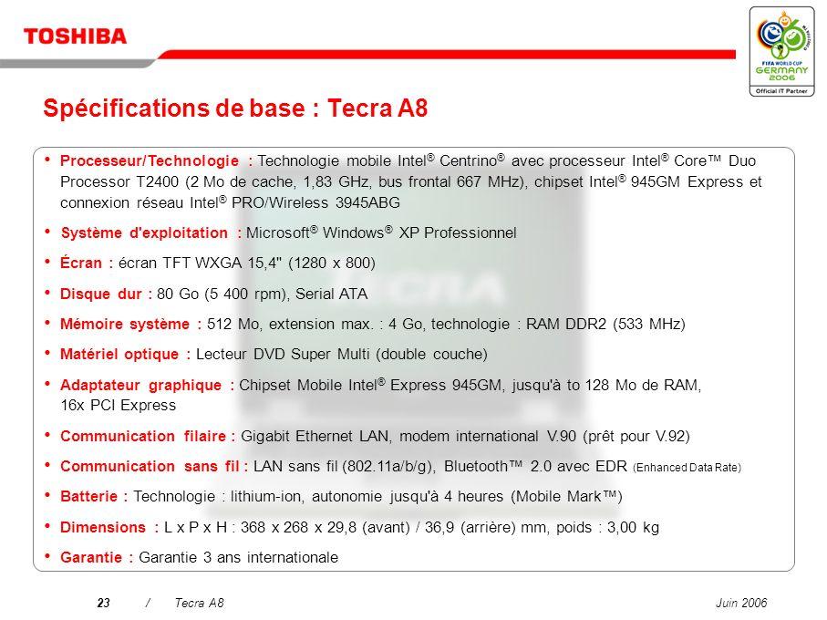 Spécifications de base : Tecra A8
