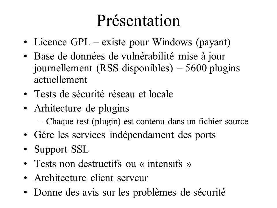 Présentation Licence GPL – existe pour Windows (payant)