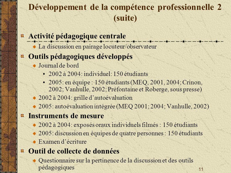 Développement de la compétence professionnelle 2 (suite)