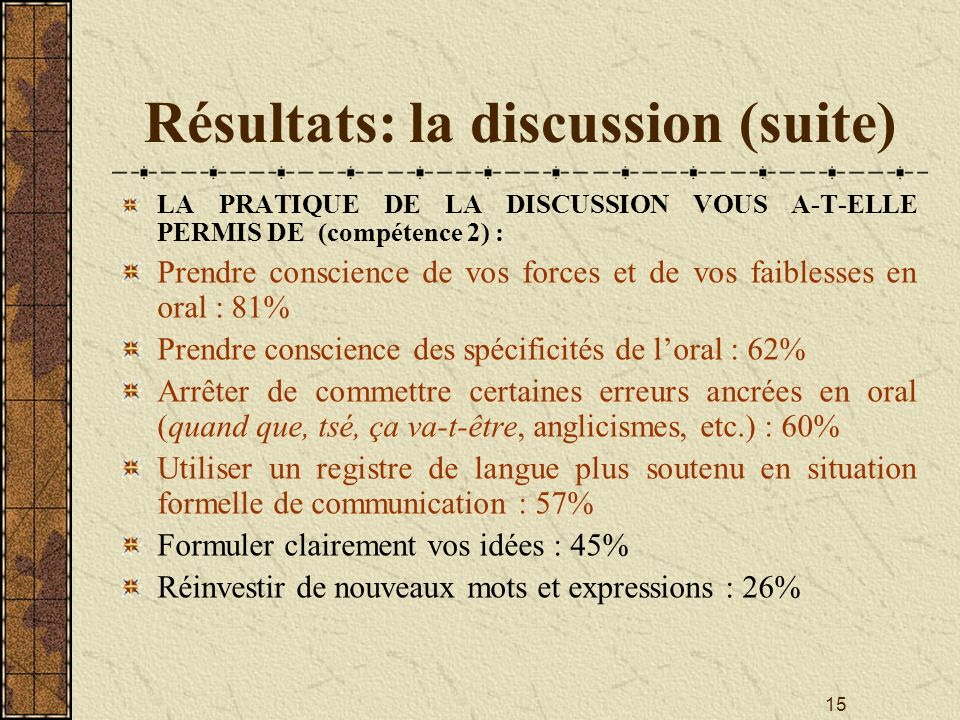Résultats: la discussion (suite)