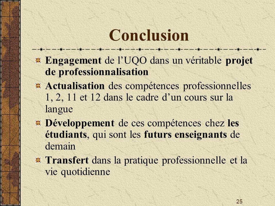 Conclusion Engagement de l'UQO dans un véritable projet de professionnalisation.