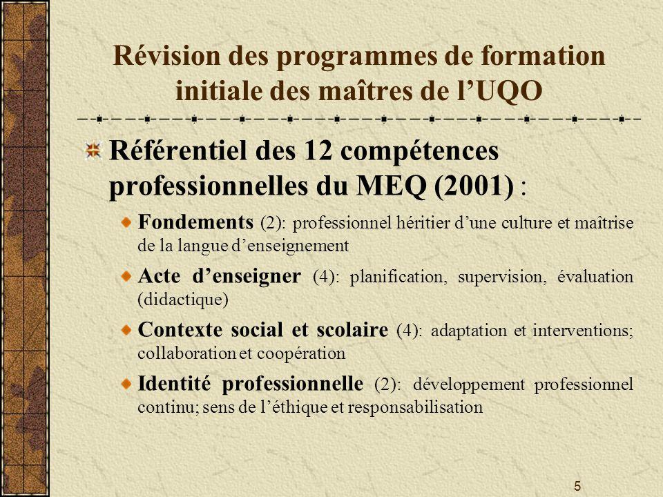 Révision des programmes de formation initiale des maîtres de l'UQO