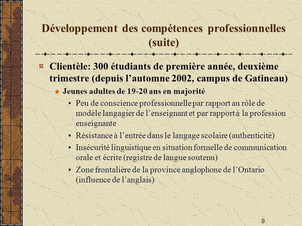 Développement des compétences professionnelles (suite)