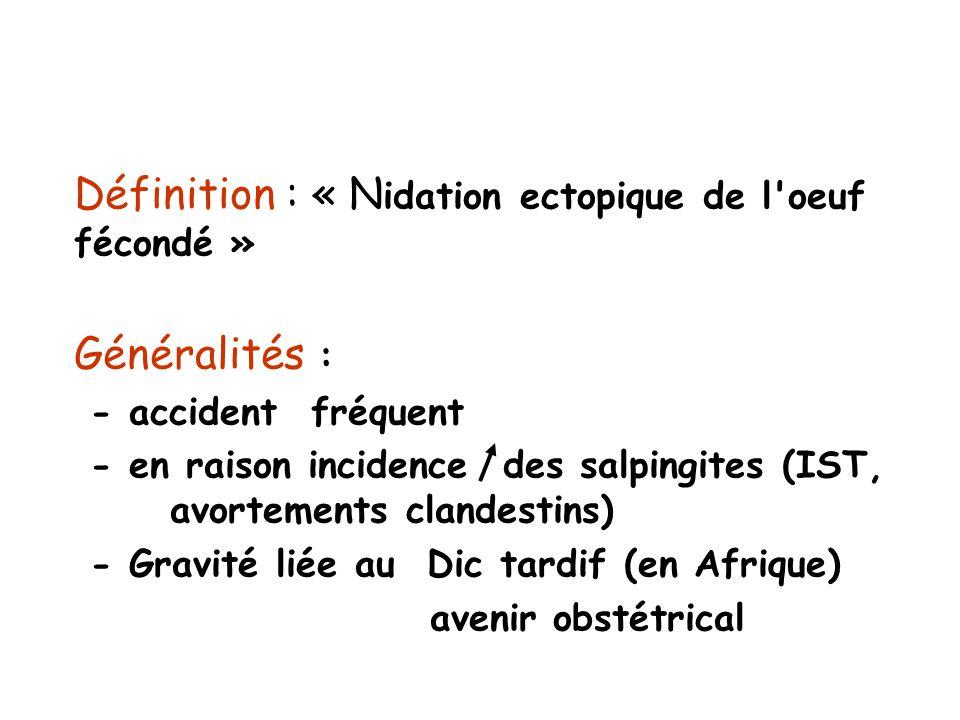 Définition : « Nidation ectopique de l oeuf fécondé »