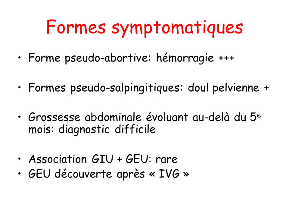 Formes symptomatiques