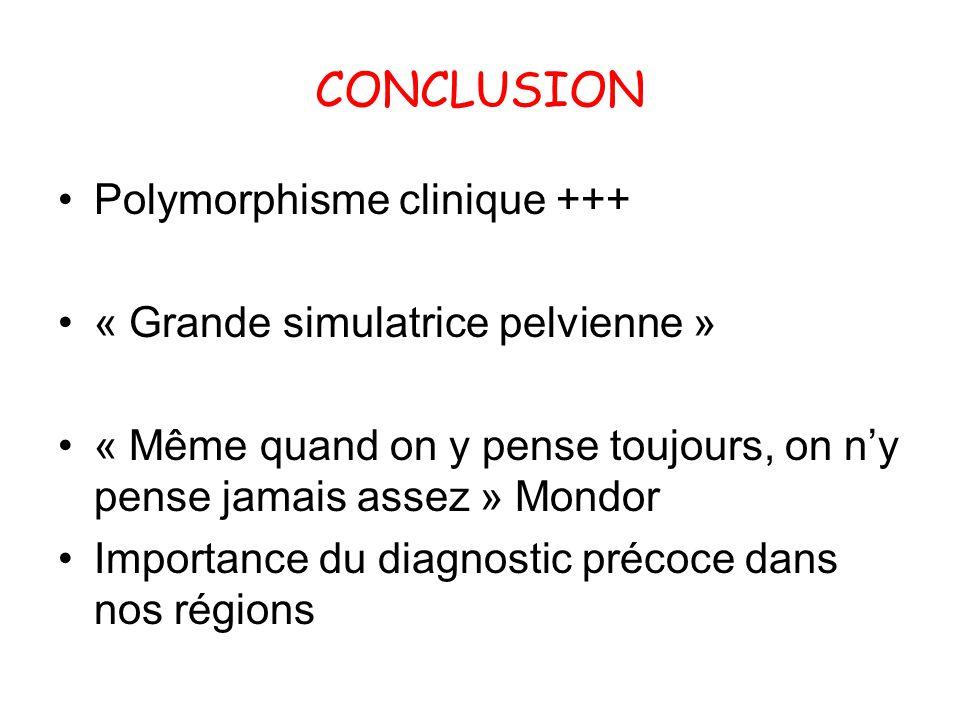 CONCLUSION Polymorphisme clinique +++ « Grande simulatrice pelvienne »