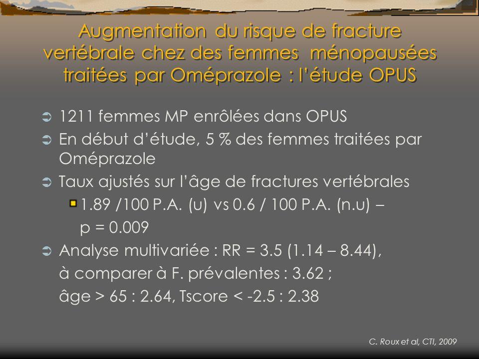Augmentation du risque de fracture vertébrale chez des femmes ménopausées traitées par Oméprazole : l'étude OPUS