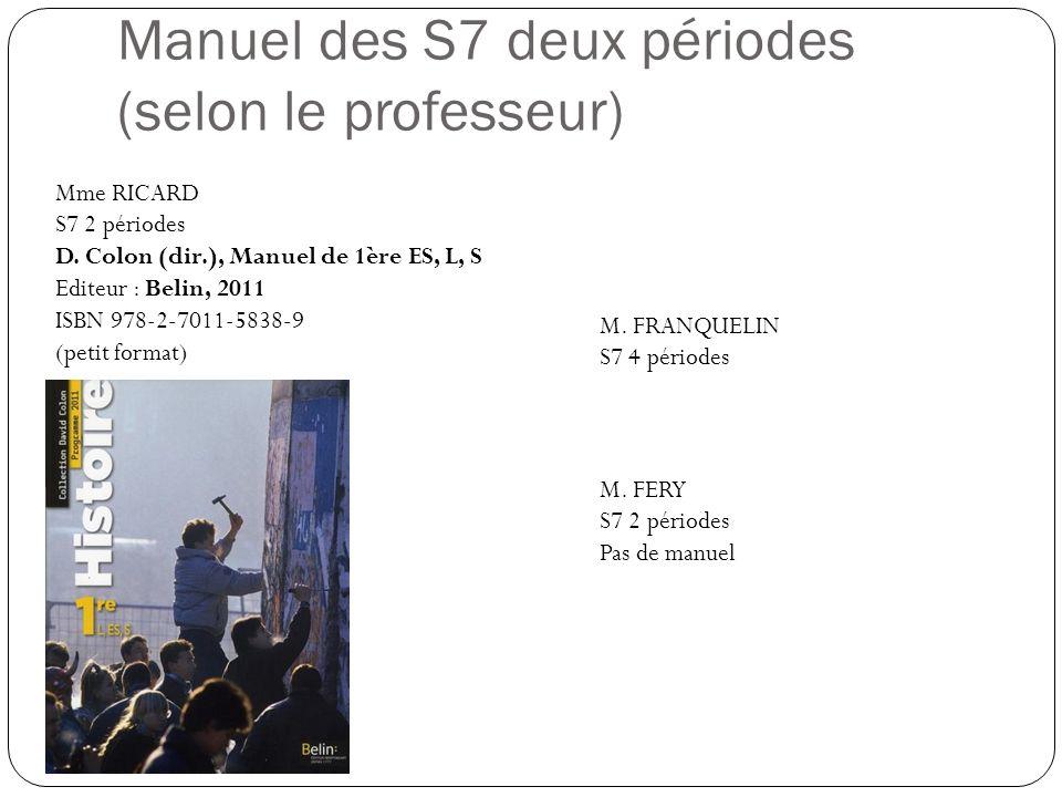 Manuel des S7 deux périodes (selon le professeur)