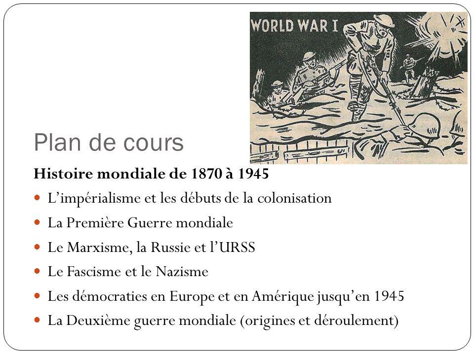 Plan de cours Histoire mondiale de 1870 à 1945