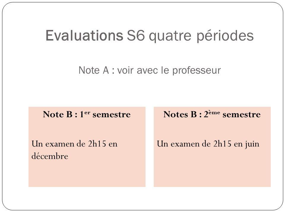 Evaluations S6 quatre périodes Note A : voir avec le professeur