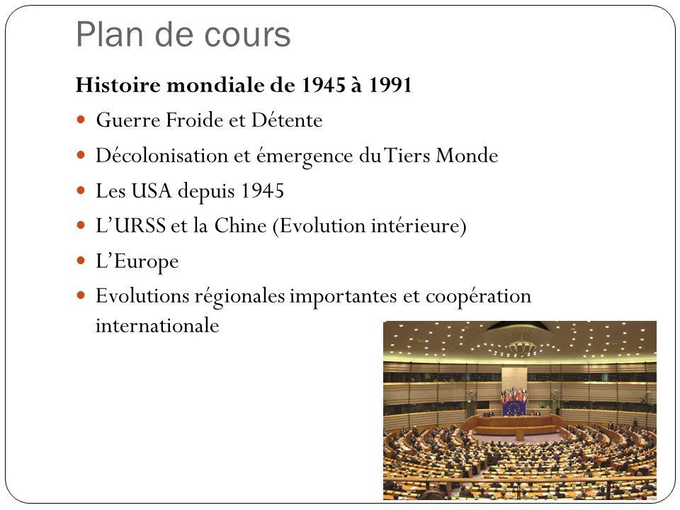 Plan de cours Histoire mondiale de 1945 à 1991