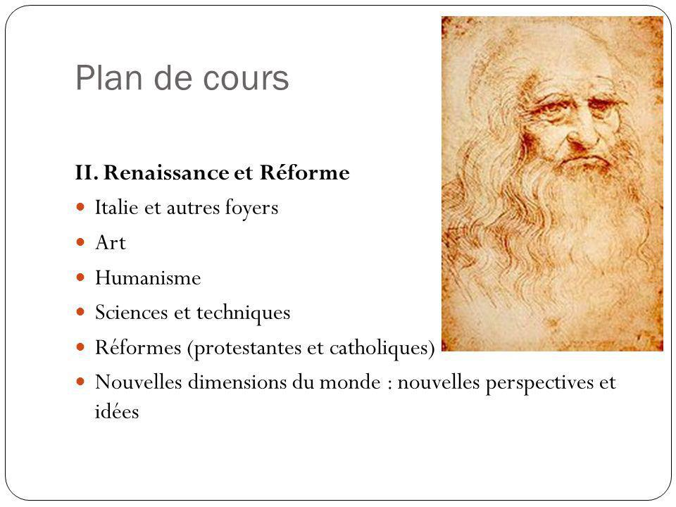 Plan de cours II. Renaissance et Réforme Italie et autres foyers Art