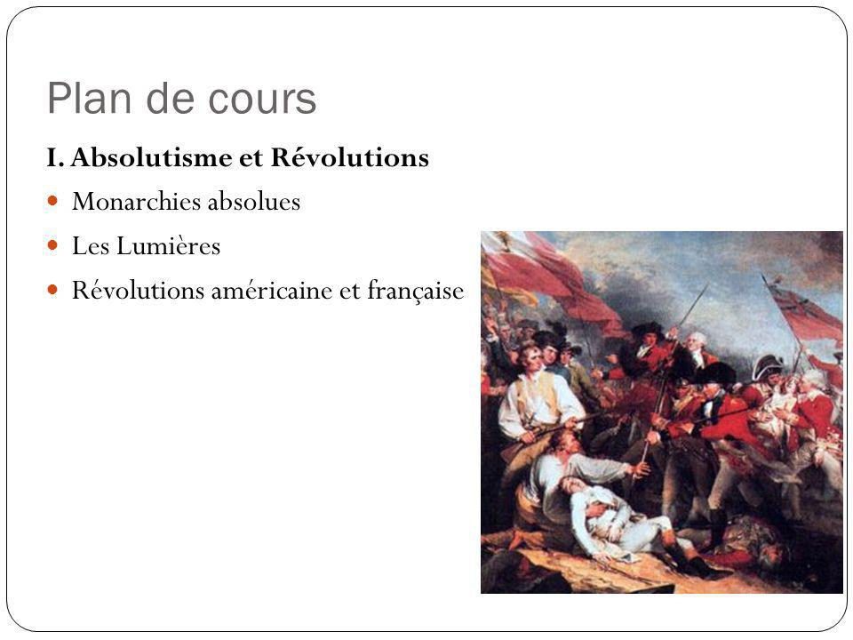 Plan de cours I. Absolutisme et Révolutions Monarchies absolues