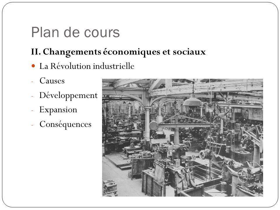 Plan de cours II. Changements économiques et sociaux