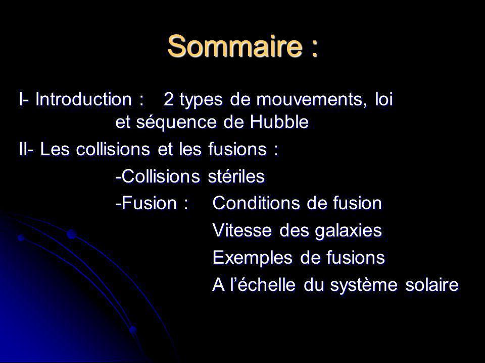 Sommaire : I- Introduction : 2 types de mouvements, loi et séquence de Hubble. II- Les collisions et les fusions :