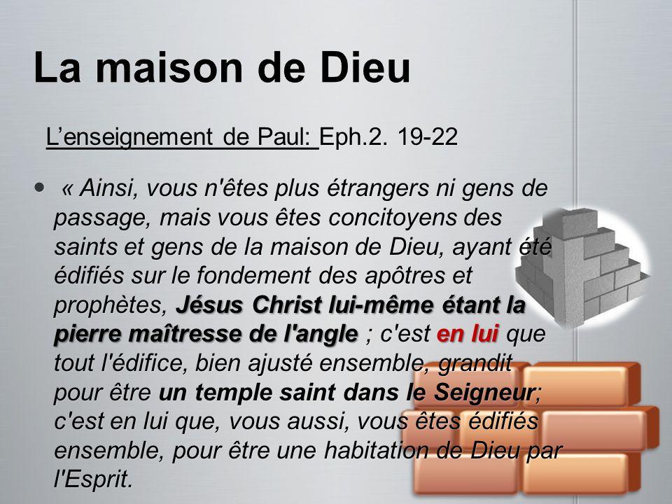 La maison de Dieu L'enseignement de Paul: Eph.2. 19-22