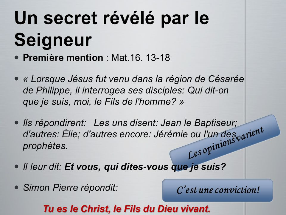 Un secret révélé par le Seigneur