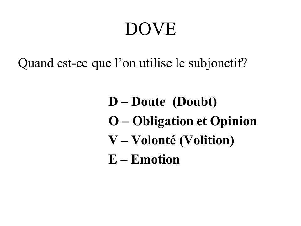 DOVE Quand est-ce que l'on utilise le subjonctif D – Doute (Doubt)