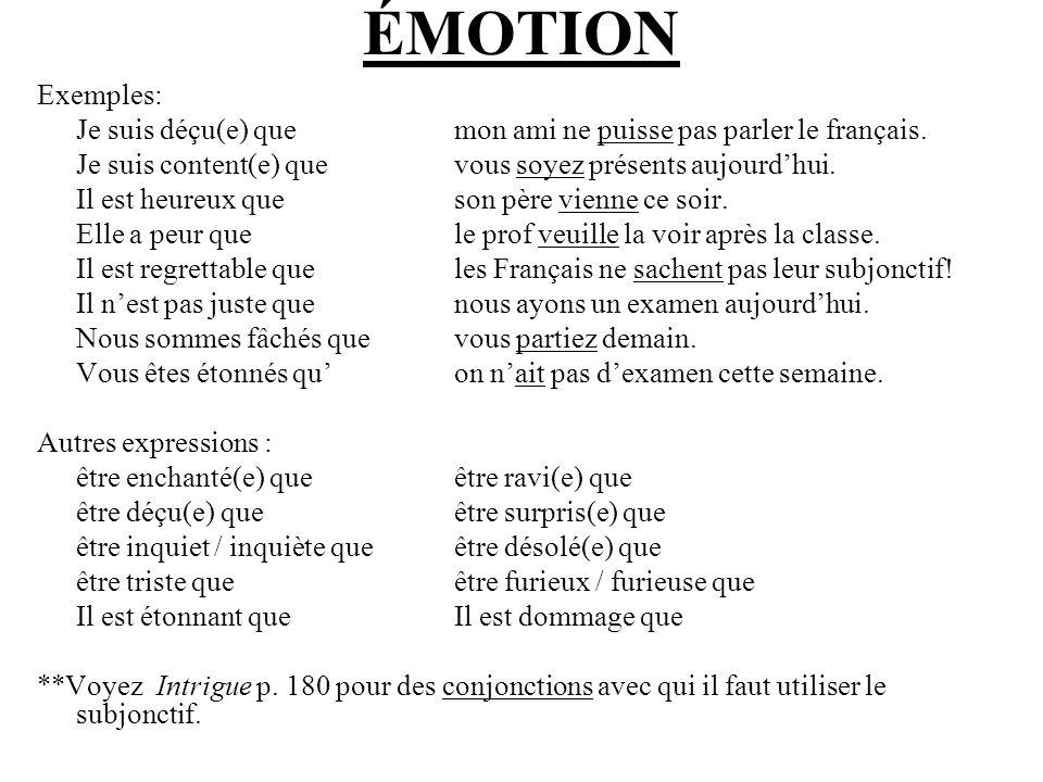 ÉMOTION Exemples: Je suis déçu(e) que mon ami ne puisse pas parler le français. Je suis content(e) que vous soyez présents aujourd'hui.