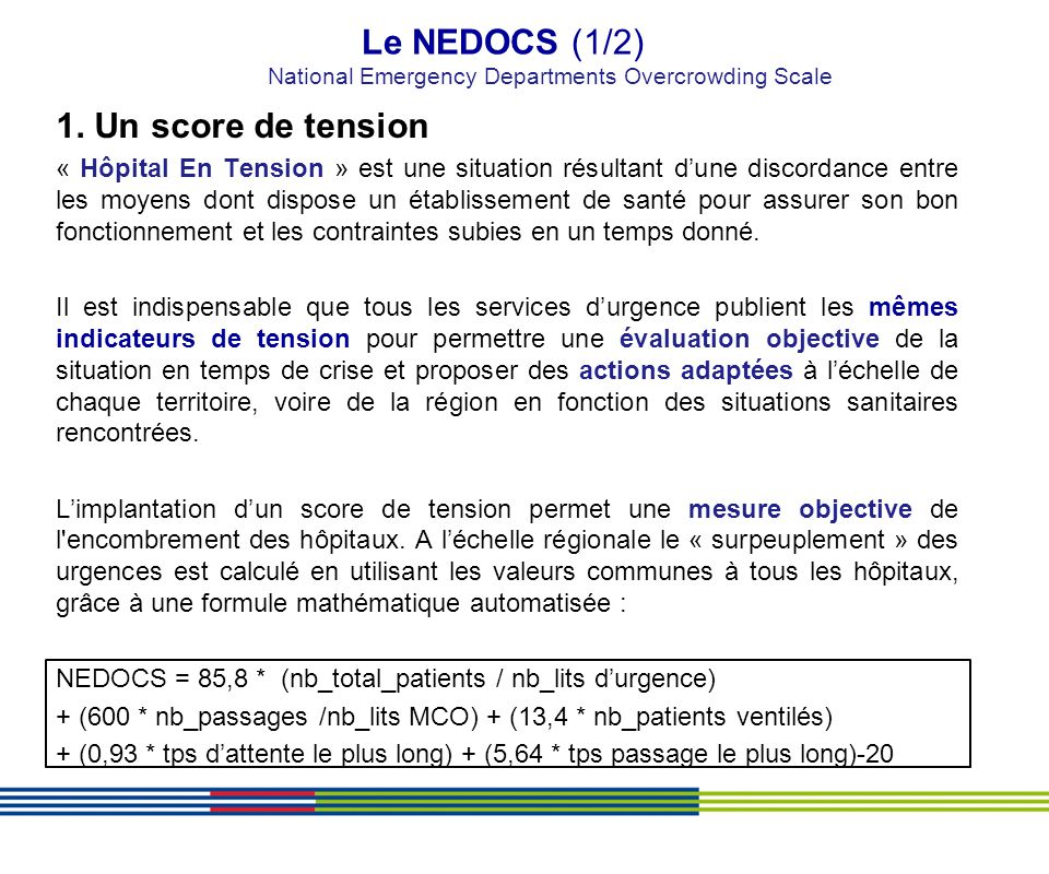 Le NEDOCS (1/2) National Emergency Departments Overcrowding Scale